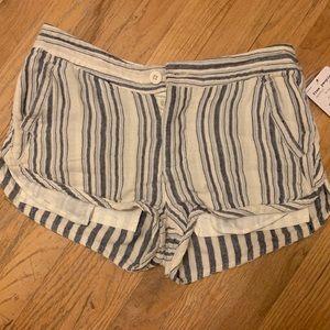 Striped Blue and White Khaki Shorts